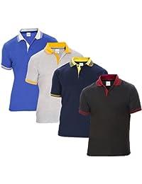 Baremoda Men's Polo T Shirt Black Navy Grey Blue Combo Pack of 4