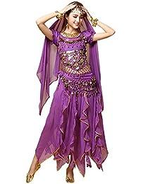 eaae944773413 besbomig Professionale Le Signore Costume di Danza del Ventre - 6 Pezzi  Manica Corta Paillettes Set