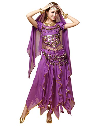 besbomig Professionel Indische Kleidung Damen Bauchtanz Kostüm - 6 Stück Kurze Ärmel Sequenziert Indischer - Indischer Tanz Kostüm Bilder