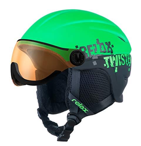 Relax Kinder Skihelm mit Visier | Snowboardhelm | Skihelmet | Race-Helm für Mädchen und Jungen (Neongrün/Schwarz, S (53-57cm))