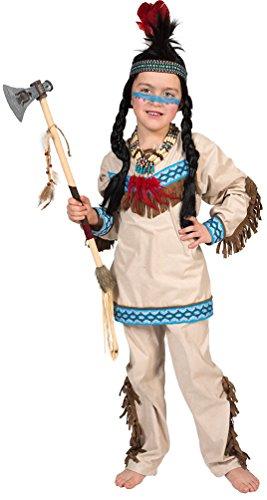 Karneval-Klamotten Indianer Kostüm Kinder Junge Kostüm Jungen-kostüm Indianer beige blau Karneval Kinder-Kostüm Größe 116