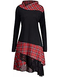 WensLTD Women s Irregular Casual Lace Plaid Panel Long Top Blouses T-Shirt  Dresses Plus Size 343893f70
