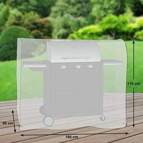 Premium Schutzhülle für Gasgrill/Gasgrillküche/Grillwagen aus Polyester Oxford 600D - lichtgrau - von 'mehr Garten' - Größe XL (165 x 95 cm)