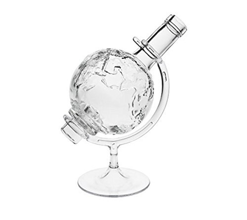 Weltkugel 1 Whisky karrafe mit Korken-verschluss Globus | 1 Stück | Füllmenge 0,5 Liter 500 ml | Glaskaraffe Welt Dekanter für Whisky-Flasche Öl, Whiskey, Schnäpse und Liköre an