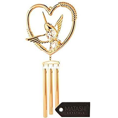 24K Gold Plated Crystal Studded Hummingbird in a Heart Decorative Wind Chime by Matashi by Matashi