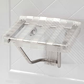 Arian EcoSpaⓇ Prestige Bathroom Mobility Aid | Wall Mounted Clear Folding Shower Seat Stool | Max. 160kgs/25st