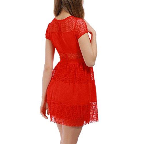 La Modeuse - Robe courte patineuse avec dentelle Rouge