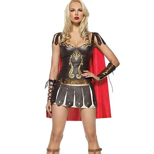 FHSIANN Damen Leder Römisch Griechisch Gladiator Krieger Prinzessin Spartan Kostüm Damen Sexy Party (Krieger Prinzessin Kostüm Halloween)