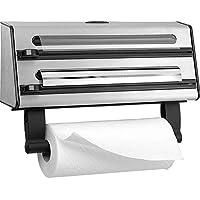 Emsa Contura Portarollos de cocina triple, corta papel de alumino, envoltura de plástico, papel de sandwich, corte en dos dimensiones, fácil de manipular, 40.89 x 27.94 x 10.92 cm