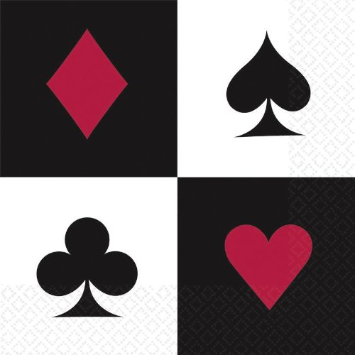 Enter-Deal-Berlin 16 Stück SERVIETTEN - Casino - 32,7 x 32,7 cm Pic Herz Karo Kreuz Bube Dame König Ass