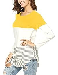 ec361aa414f0 Camicia Donna Cotone Casual a Maniche Lunghe Camicetta Felpe Bluse Camicie  Maglie a Manica Lunga Donna