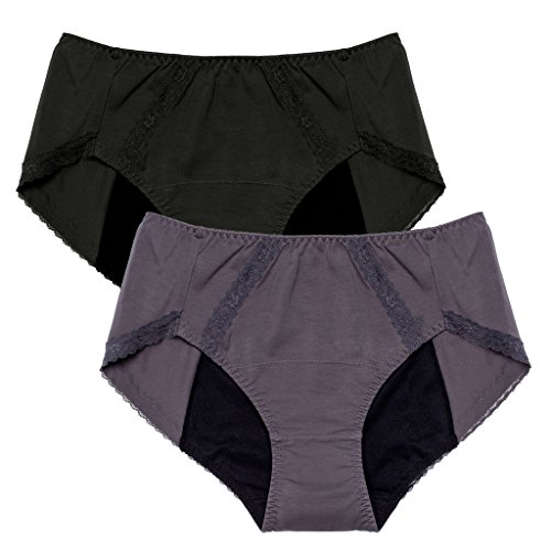 Intimate Portal Damen Pants Perioden Panties Menstruation Slip Auslaufsicheren Taillenslips Für Periode Menstruation Schwarz Grau 2er-Pack M
