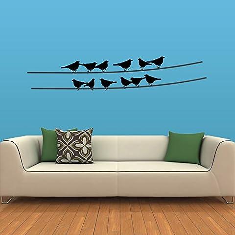 Oiseaux sur un fil autocollant mural en, noir, 900mmx600mm