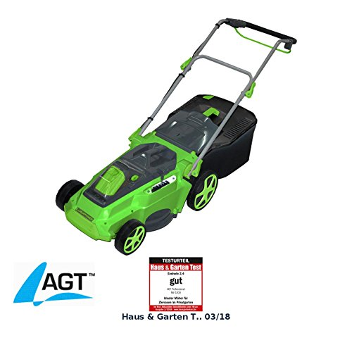 AGT Accu Rasenmäher: Profi Brushless Akku-Rasenmäher AW-36.rm (36V) mit Akku und Ladegerät (Kabelloser Rasenmäher)