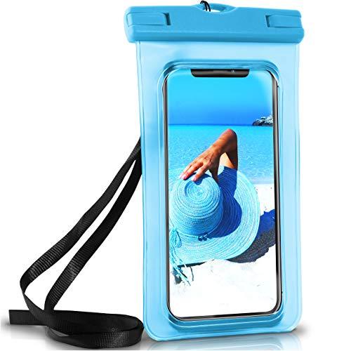 ONEFLOW Wasserdichte Hülle iPhone Full Cover in Blau 360° Unterwasser-Gehäuse Touch Schutzhülle Water-Proof Handy-Hülle für Apple iPhone X 8 7 7Plus/8Plus 6S 6 Plus 5 5S Case Handy-Schutz
