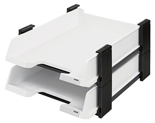 HAN Briefablagen Set DUETT 10320-12 in Weiß/Schwarz / 2 hochwertige, ausziehbare Papierablagen im stabilen Stapelgestell / Für Briefe & Papiere bis Format A4–C4