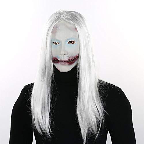 Halloween Maske Weißes Haar Vampir Scary Horror Gesichtsmaske Gesicht Lustige Requisiten Unisex 1 Stücke Stücke Erwachsene Geschenk,White,Onesize