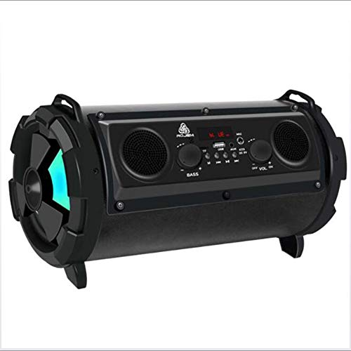 GNAIQUY Enceinte Bluetooth Intelligent-Lumières colorées Super Veille Basse 15W Carte Multifonction Son FM Support Disque U, Carte TF, Carte SD,Black