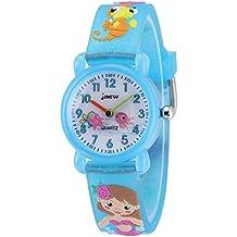 Jewtme - Reloj analógico para niños de 3 a 8 años con correa de silicona 3D