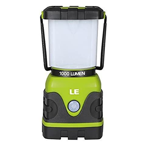 LE Outdoor LED Lantern,1000lm, Dimmable, Battery Powered, Water Resistant, Camping Gear Equipment Flashlight Lanterns, Tent Lights for Hiking, Emergencies, Hurricanes,
