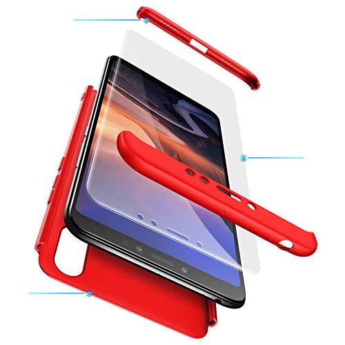 Funda XiaoMi Mi Max 3 Carcasa XiaoMi Mi Max 3 con[Protector de Pantalla de Vidrio Templado]3 en 1 Desmontable Anti-Arañazos XiaoMi Mi Max 3 Funda Protectora-360 °complete package protection-Rojo