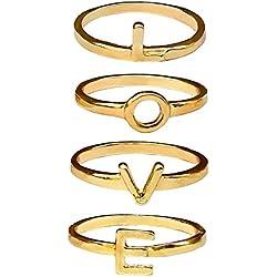 tumundo Set de 4 o 5 Piezas Knuckle Conjunto Apilar Anillo De Dedo Midi Chicas Bohemia Boho Joyería Nudillo Ring Strass , modelo:mod 1