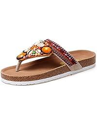 Sandalen Gefrostetes Obermaterial Kork Sohle Hausschuhe Weiblich Sommer- Clip-Zeh Rein Handgefertigt Flache Schuhe