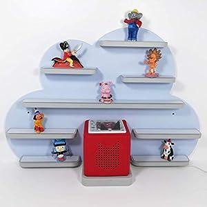 Tonie Board, Wolke in blau mit grauen Regalen, ideale Aufbewahrung für Tonie Box und Tonie Figuren, Kinderzimmer Regal, Deko Board, Musikboxaufbewahrung, Hängeregal