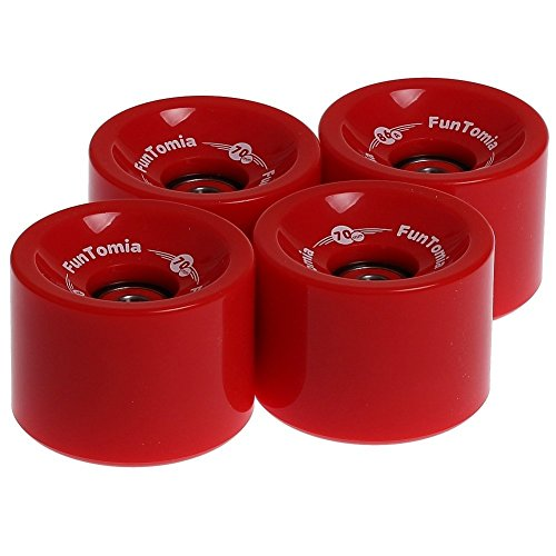 FunTomia 4 Stück Longboard/Skateboard Rollen (Big Wheels) in 70x51mm 80A oder 70x51mm 86A inkl. Mach1® Kugellager -
