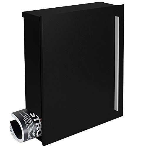 Design-Briefkasten mit Zeitungsfach 12 Liter schwarz (RAL 9005) MOCAVI Box 110 Wandbriefkasten Postkasten