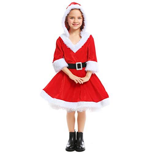 CJJC Weihnachtsmädchen Cosplay Red Santa Puff Kleid Mit Kapuze, Niedlich Warme Bequeme Schule Leistung Festival Party Kostüm S