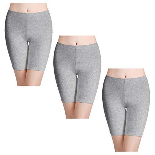 wirarpa Unterhosen Radlerhose Boxershorts Damen 3er Pack Hoher Bund Baumwolle Shorts Panties Lange Unterwäsche Grau Größe 44 46