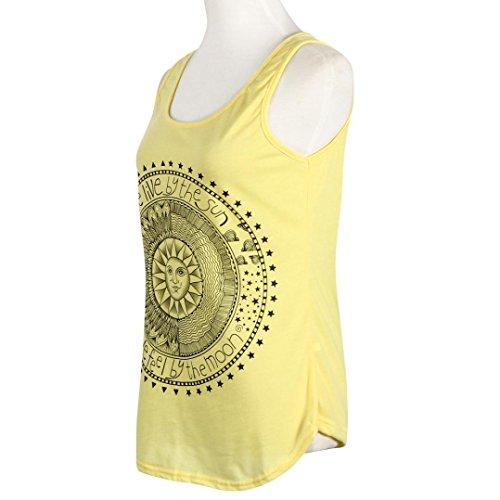 HARRYSTORE Frauen Sonne Gedruckte Blusen Sleeveless Weste Beiläufige Behälter T-Shirt Oberseiten Gelb