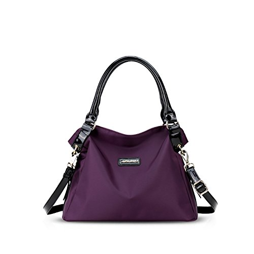 NICOLE&DORIS Neue Mode Damen Handtaschen Umhängetasche Tasche Crossbody Groß Tasche Nylon Lila (Cross Stoff Body Handtaschen Schwarz)