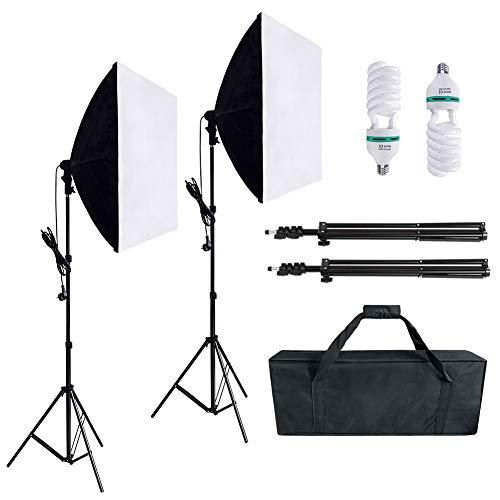 Aufun 60x60cm Softbox Dauerlicht Studioset, Winkel einstellbar, mit 2 x 105W E27 Sockel LED und 2m Lichtstative, für Fotostudio-Porträts, Produktfotografie und Videoaufnahme
