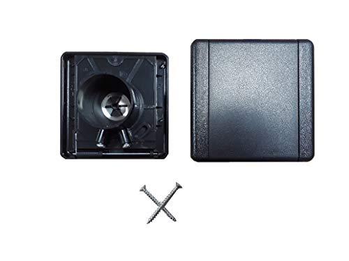 Zentrale Saugdose, quadratischer Deckel, 9 x 9 cm, Schwarz