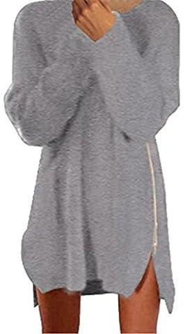 IWFREE Femme Casual Mode Robe Pull Zippé Manche Longue Lâche Tunique Blouse Pull Longue Laine Femme Pour Automne-Hiver Taille Loose
