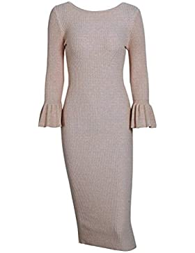 Simpplee Apparel Damen Midi Kleid Elegant Langarm Bodycon Lang Strickkleid Casual Sweater Kleid 6 Farbe