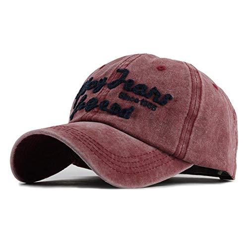 Herren Baseball Cap Snapback Hüte für Frauen Hip Hop Gorras gestickt gewaschen Hut Caps Casquette Knochen Kappe Retro F121, F121, rot -