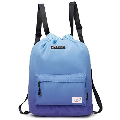 Yinjue Drawstring Backpack Lightweigh Gym Bag Floral Traver Bag for Women  Gym Sackpack Yoga (Blue fdac50066b92e