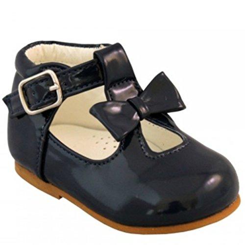 Chaussures bébé fille enfant brillant brevet avec nœud décoratif style espagnol Blanc Noir Crème Rose Rouge Parti Mariage antidérapant Première Chaussures de marche 21201 Bleu Marine