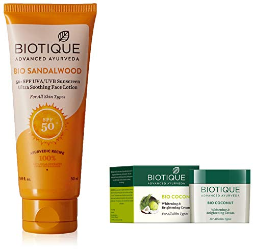 Biotique Bio Sandalwood Sunscreen Ultra Soothing Face Lotion, SPF 50+, 50ml and Biotique Bio Coconut Whitening And Brightening Cream, 50g