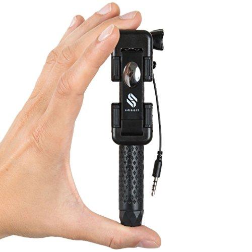 Mini Bastone Selfie stick universale per Smartphone e GoPro con Cavo di Controllo (no Batteria, no Bluetooth) | Versione 2016 | 13,4 Centimetri, Estendibile fino a 70 Centimetri | con Monopodo da Trasporto | per iPhone, Samsung, Sony, Huawei