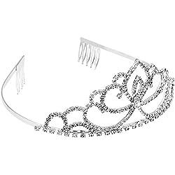Abeillo Hochzeit Braut Kronen-Stirnband Tiara Charming Strass Kopfstück Silber