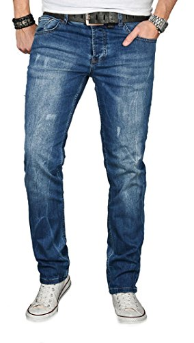 Alessandro Salvarini Designer Herren Jeans Hose Regular Slim Fit Jeanshose Basic Stretch [AS-055 - W38 L32] , Mittelblau Used