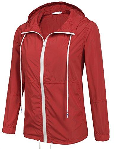 Damen Jacke Windbreaker Übergangsjacke Wasserabweisend Regenmantel Regenjacke mit Kapuze , Farbe - Rot , Gr. XXL