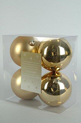 Lote de 4 bolas de Navidad (diámetro 100 mm) Alpina Oro