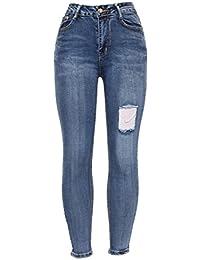 93b822f538c Barfly Fashion New Ladies Womens High Waisted White Blue Black Stretchy  Knee Ripped Cut Skinny Slim Fit Denim Tube Pencil Jean Size…