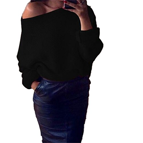 Honghu Loose Manches Longues Cou Rond Garder au Chaud Pull Femme Casual Pullover Sweater Noir