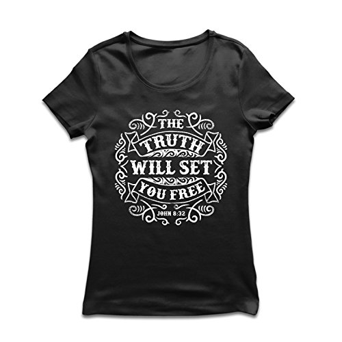 Frauen T-Shirt Die Wahrheit Wird Dich befreien - Aktion ist der Beweis des Glaubens - christliche Geschenkideen - Ostern - Auferstehung - religiöse Kleidung (Small Schwarz Mehrfarben) (Shirt Nicht-religiösen)